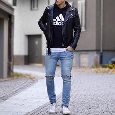 #streetstyle by @wowa_valentino | black leather jacket #adidas hoodie ripped jeans and sneakers [ http://www.RoyalFashionist.com ]