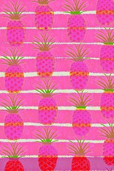 Pink Pineapples Art Print by Pink Pagoda Studio / Barbara Perrine Chu Textiles, Textile Patterns, Bright Spring, Pretty Patterns, Color Patterns, Pattern Art, Background Patterns, Wallpaper Patterns, Kitsch