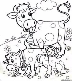 Dairy Cow Coloring Pages . Discover our big assortment of Coloring pages, with several groups and difficulties degrees. An ideal Anti-stress activity for you personally. Farm Animal Coloring Pages, Coloring Pages For Boys, Printable Adult Coloring Pages, Coloring Book Pages, Cartoon Drawings, Easy Drawings, Boy Coloring, Farm Quilt, Stuffed Animal Patterns