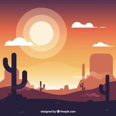 Flat western background with cacti and sun Free Vector – Junior Salazar – Design Illustration Design Graphique, Sun Illustration, Landscape Wallpaper, Landscape Art, Desert Drawing, Easy Canvas Art, Desert Art, Affinity Designer, Vector Art