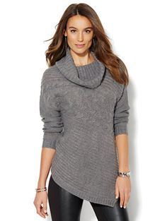 Cowl-Neck Tunic Sweater - Solid - New York & Company | outfits I ...