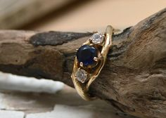 Sapphire and Diamond Gold Unity Engagement Ring - 14kt Gold Customizable Twig Engagement Wedding Ring