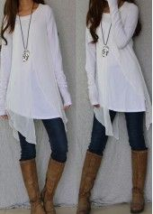 Asymmetric Hem Long Sleeve White Blouse Style :Casual Collar :Round neck Sleeve's Length :Long Sleeve Pattern Type :Patchwork Clothing's Length :Regular Material :Polyester Package Contents : 1 x Blouse, Without Accessories Stylish Tops For Girls, Trendy Tops For Women, Blouses For Women, Women's Blouses, Formal Blouses, Chiffon Blouses, Long Sleeve Tunic, White Long Sleeve, Mode Outfits