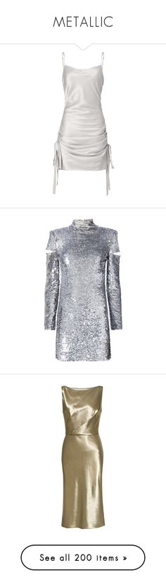 """""""METALLIC"""" by shoppings9 ❤ liked on Polyvore featuring dresses, vestidos, short dresses, zimmermann, metallic, mini dress, metallic mini dress, metallic short dress, short slip dress and silk slip"""