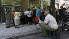 Greece for Puerto Rico? German finance minister jokes about trading 'bankrupts' with US http://sumo.ly/88oI  Pensioners wait in front of a National Bank branch to receive part of their pensions at an Athens neighborhood (Reuters / Yannis Behrakis)