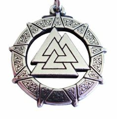 """Pewter Valhalla Valkyrie Valknut Pendant Celtic Norse Viking Necklace Jewelry The Knot of the Fallen by Moonlight Mysteries. $14.99. The central triangles are called """"The Valknut, The Knot of the Fallen""""-a Sacred Symbol to Odin, King of the Nordic Gods. This Magical Knot was self carved into the breasts of wounded Viking Warriors so their Souls would be carried, by the Valkyries, to Valhalla, the Heavenly Meeting Hall where the heroes would feast with their ..."""