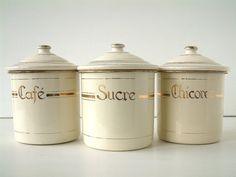 french vintage enamel kitchen crocks