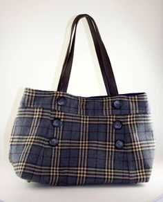 Classic Gray Plaid Upcycled Skirt Bag. $82.00, via Etsy   Size 2 Plaid skirt anyone?
