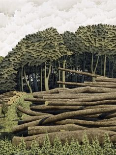 Tree Harvest, Garrowby - Simon Palmer (watercolour, ink and gouache) - Yorkshire. Landscape Art, Landscape Paintings, Tree Paintings, New Artists, British Artists, Lino Art, Uk Landscapes, Environment Painting, Cool Artwork