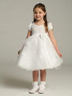 Fabulous Ball Gown Bateau Knee-length Organza White Flower Girl Dresses - $114.99 - Trendget.com
