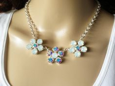SWAROVSKI FLOWER NECKLACE, clearance,was 48.00, crystal, white opal, aroura borealis, bridal, statement, lovely, dksjewelrydesigns