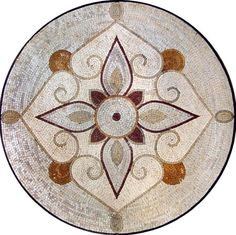 Mosaic Medallion Floral Design on a classy beige background