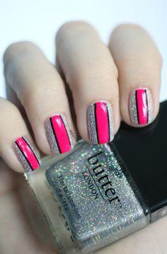 Silver glitter with pink stripe mani