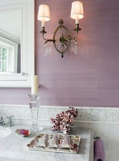 burcu avsar - love the wall color i would totally do my bathroom like this with the white mosaic tile and the wall sconces!