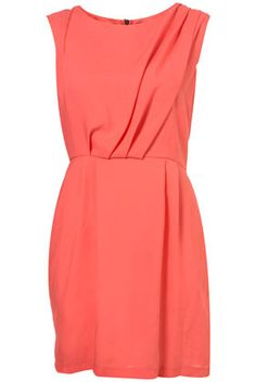 Coral Tuck Shift Sleeveless Dress from Topshop. Just bought this, can't wait to wear it!