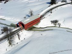 Red Covered Bridge in winter near Wakefield Quebec, Canada - Kite Aerial Photography, KAP by Rob Huntley© Old Bridges, Side Road, Winter Photos, Winter Scenes, Snow Scenes, Aerial Photography, Art Photography, Covered Bridges, Beautiful Places