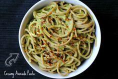 Creamy Avocado Pasta Recipe with dried pasta, lemon, garlic cloves, sea salt, avocado, water, basil, spring onions, chili flakes