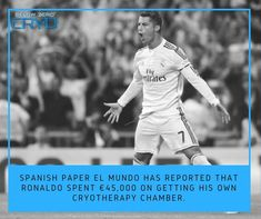 After trying it out at his gym, the Real Madrid FC superstar has gotten addicted to cryotherapy treatment and now does it twice every week.  #cryotherapy #belowzerocryo #ronaldo #realmadrid
