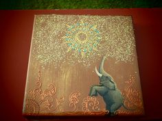 I made this with acrylic paint, fabric paint, glitter and sealed with resin:) Ich habe das mit Acrylfarbe, Stofffarbe, Glitzer gemacht und mit Harz versiegelt 🙂 Kunst von Catana Fabric Painting, Painting & Drawing, Paint Fabric, Elephant Art, Elephant Tattoos, Abstract Canvas, Canvas Art, Art Journal Techniques, Henna Art
