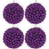 Purple Beaded Foam Ball Ornaments