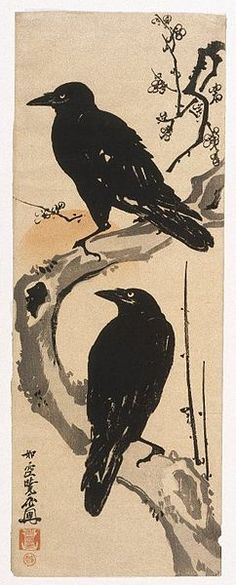 """""""Two Crows"""" by KAWANABE Kyosai (1831~1889), Japan"""