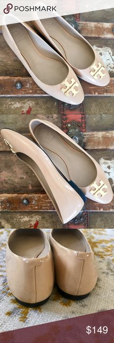 0d8515da586f Tory Burch Raleigh Ballet Flats Natural Nude Reva High-shine patent leather  gives our Raleigh
