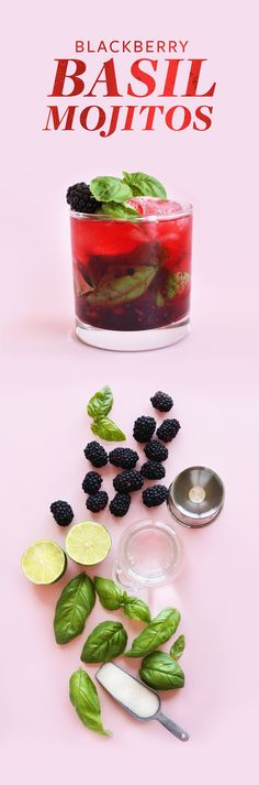 EASY Blackberry Basil Mojitos! Perfect tart, sweet and SO refreshing #vegan #cocktail #mojito #basil #happyhour