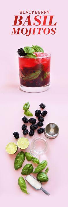 EASY Blackberry Basil Mojitos! Perfect tart, sweet and SO refreshing #vegan #cocktail #mojito #basil #happyhour
