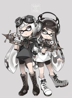 Black and White Inklings - Splatoon Splatoon Squid, Nintendo Splatoon, Splatoon 2 Art, Splatoon Comics, Splatoon Games, Anime Manga, Anime Art, Satsuriku No Tenshi, Kawaii