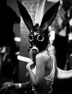 Gas mask photography I love the gas mask photos.possible Halloween costume! Gas Mask Art, Masks Art, Gas Masks, Steam Punk, Looks Halloween, Bunny Mask, Arte Obscura, Arte Horror, Oeuvre D'art