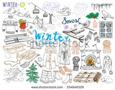 Winter season set doodles elements. Hand drawn set with glass hot wine, boots, clothes, fireplace, mountains, ski and sledge, warm blanket, socks and hats, and lettering words. Drawing set,  isolated.