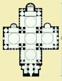 LATE BYZANTINE ARCHITECTURE - Plan of Cathedral of S. Front, Périgueux, France, 1150.
