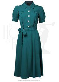40s Shirt Waister Dress - Utility Green
