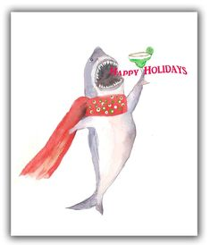 Your place to buy and sell all things handmade Unique Christmas Cards, White Christmas, Holiday Cards, Shark Art, Great White Shark, Shark Week, Order Prints, Crafts For Kids, Cocktail