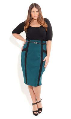 Spliced Panel Ponte Skirt - City Chic