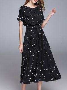 Shop Midi Dresses - Black Casual Polka Dots Polyester A-line Midi Dress online. Discover unique designers fashion at StyleWe.com.