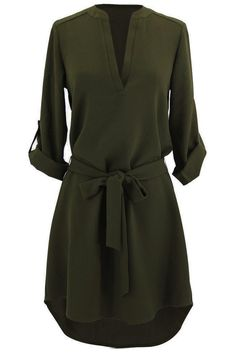 What would you do to get your hands on this olive tunic dress?Product Code: Details: Plunging neckline High low design With belt Tunic shirt dress Regu Look Fashion, Autumn Fashion, Womens Fashion, Dress Fashion, Hijab Fashion, Fashion News, Mode Style, Style Me, Classic Style