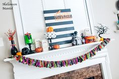 Happy happy Monday! I don't usually get excited about Mondays....But I couldn't wait for today so I could show you my Halloween Mantel! I think I'm one of the last bloggers to get their mantel decorated for Halloween this year. Don't get me wrong, I