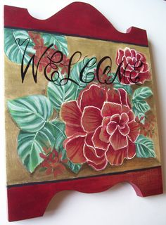 Wall Hanging, Painted, WELCOME, Sign, Plaque, Door Art, Gold, Burgundy, SFCOFG via Etsy