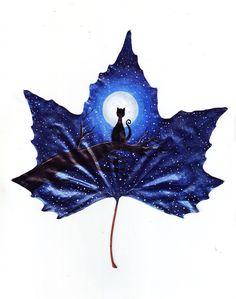 Pintura na folha de outono feita por Kristi Botkoveli e Beka Zaridze - Foto: 24 Fallen Leaves Amazing Drawings, Amazing Art, Art Drawings, Fantasy Kunst, Fantasy Art, Painted Leaves, Painting On Leaves, Autumn Leaves, Fallen Leaves