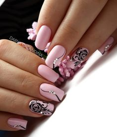 5 Gorgeous Gel Nail Designs With Flowers for 2019 - Check them out! Are you looking for a lovely Gel Nail Designs with Flowers for your long claws? You should take a look at the collection where we have got some unavoidable Gel Nail Designs With Flowers. Pink Nail Art, Flower Nail Art, Acrylic Nail Art, Cool Nail Art, Nail Art Rose, Pink Black Nails, Nail Black, Pink Art, Fabulous Nails