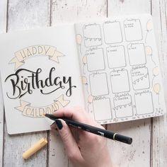 "672 Likes, 9 Comments - Bulletjournal, Lettering & DIY (@jane_carrot) on Instagram: ""So sieht mein Geburtstagskalender in meinem Bulletjournal aus Ich überlege gerade welche Listen…"""