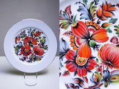 Сувенірна тарілка з порцеляни (Петриківський розпис).