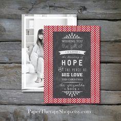 Chalkboard Message on Herringbone Christmas by PaperTherapyShop, $15.00