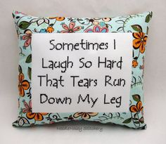 Funny Cross Stitch Pillow Blue Floral Pillow Laugh by NeedleNosey, $23.00