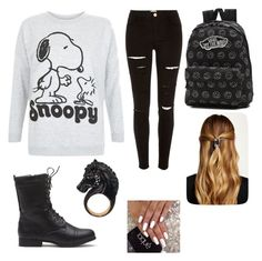 """Going to watch the Peanuts Movie"" by khaelynnstyles ❤ liked on Polyvore featuring River Island, Vans, Natasha Accessories, Nisan, women's clothing, women, female, woman, misses and juniors"