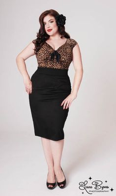 Retro Pencil Skirt in Basic Black by Pinup Couture - in Plus Sizes