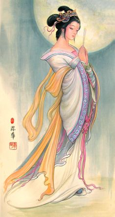 """Diaochan (c. 3rd century, Late Eastern Han/Three Kingdoms period), was one of """"The Four Great Beauties of Ancient China"""" and said to be so luminously lovely that the moon itself would shy away in embarrassment when compared to her face It is said that she could dance and sing and uses both skills in battle. Unlike the other three beauties, however, there is no known evidence suggesting her existence; she is most likely a fictional character."""