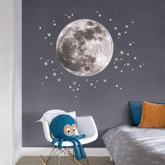 moon and stars fabric wall sticker by koko kids | notonthehighstreet.com
