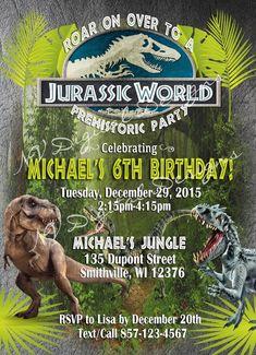 Birthday Party At Park, Dinosaur Birthday Party, Birthday Ideas, Birthday Angel, Jurassic Park World, Birthday Invitations, Party Ideas, Prints, Park Birthday Parties